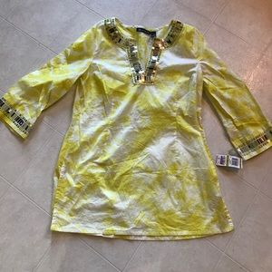 INC yellow tunic top with shiny silver detail NWT